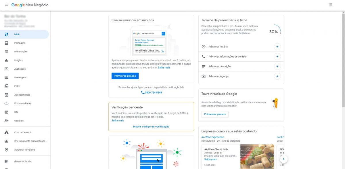 Tela Principal - Google Meu Negócio