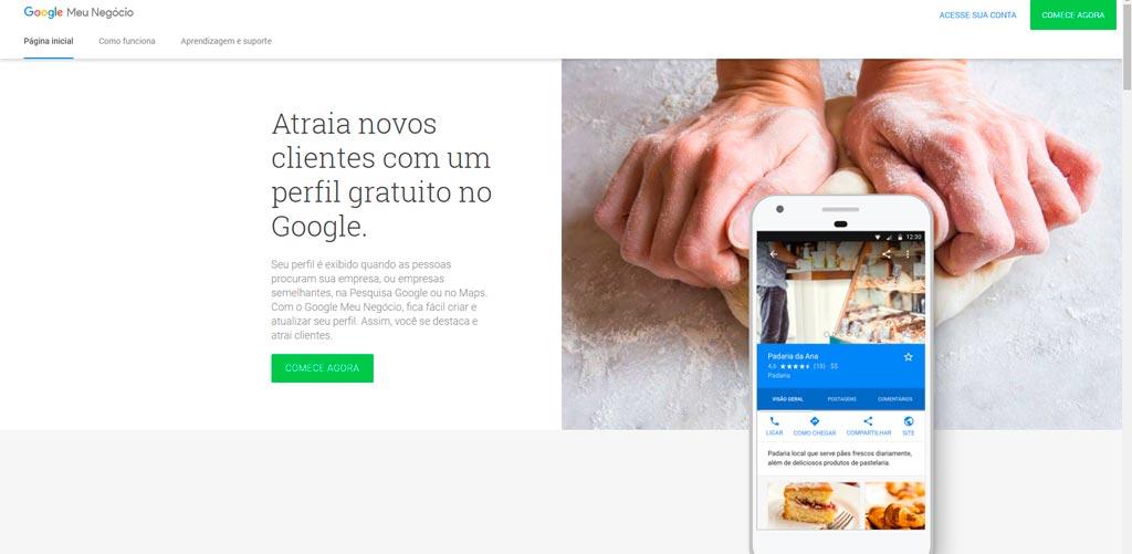 Google Meu Negócio - Página Inicial